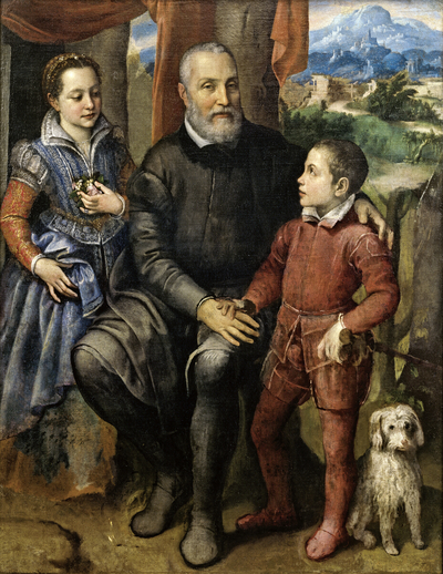 Image from object titled Portrait Group with the Artist's Father Amilcare Anguissola, Brother Astrubale and Sister Minerva