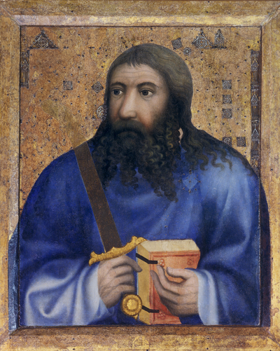 Image from object titled Painting on wood showes a half-figure of the Apostle Jude Thaddeus. The saint is dressed in a blue robe and in hands is holding a red book and sword. The board is partially decorated with metal...