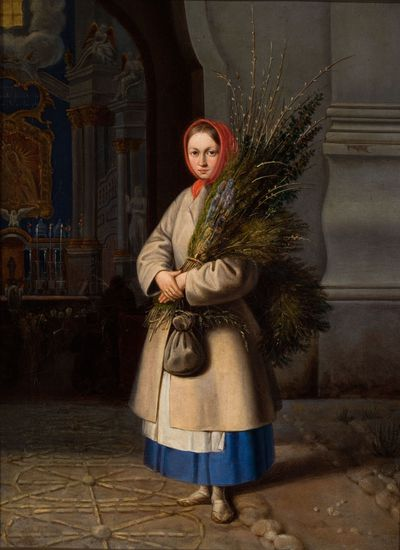Image from object titled Lithuanian Girl with Palm Sunday Fronds