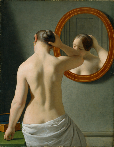 Image from object titled A nude woman doing her hair before a mirror