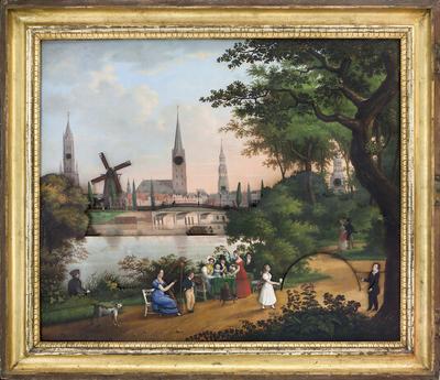 Image from object titled Kaffeegesellschaft an der Alster mit Blick über Lombardsbrücke auf die Stadt (Uhrenbild - Bilderuhr)