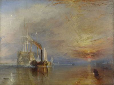 Image from object titled The Fighting Temeraire tugged to her last berth to be broken up