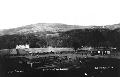 Strines Hockey Ground. Shows ruins of Woodend Works. Looking N. The wall across middle of picture is B6101.