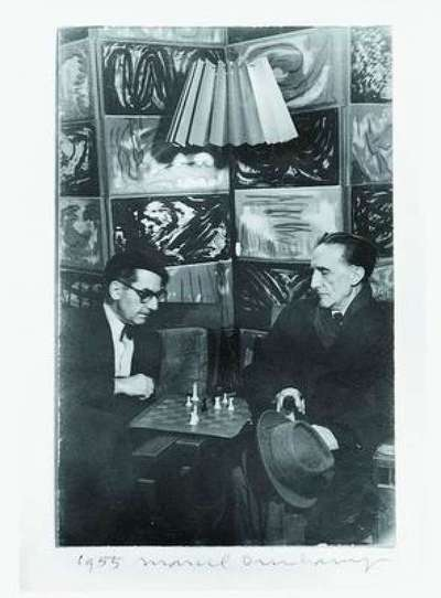 Man Ray and Marcel Duchamp Playing Chess at Man Ray's Studio