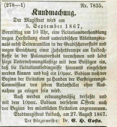 Image from object titled Oznanilo ljubljanskega magistrata o licitacijski obravnavi