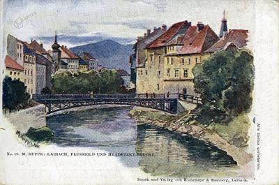 Image from object titled Laibach, Flussbild und Hradetzky-Brücke