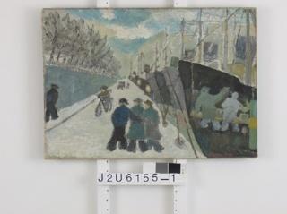 Oliemaleri af Sakarias Dahl, Havn ved Langeliniekajen