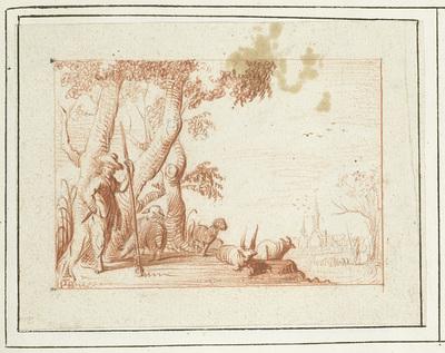 Image from object titled Pastoraal landschap met herder en zijn vee