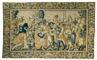 De verslagen koning Porus verschijnt voor Alexander, die hem