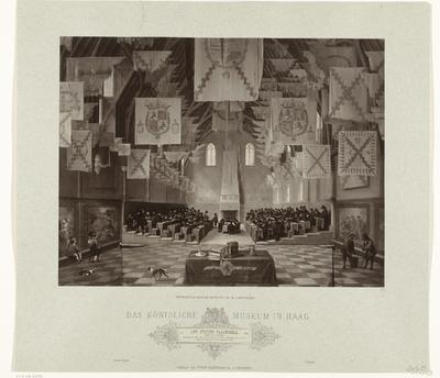 Fotoreproductie van schilderij van Dirck van Delen van de Ridderzaal tijdens de Eerste Grote Vergadering, 1651
