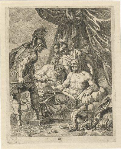 Image from object titled Achilles verwondt Telephos; Scènes uit het leven van Achilles; Vitam et mortem achilli