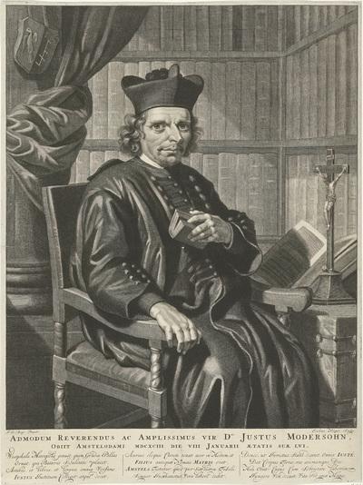 Portret van de pastoor Justus Modersohn; Admodum Reverendus ac Amplissimus vir Dns Justus Modersohn, Obiit Amstelodami MDCXCIII die VIII Januarii aetatis suae lvi