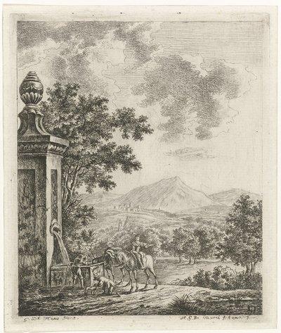 Landschap met figuren bij een bron