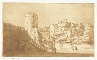 Muur van een burcht met torens; Casteel Gandolfo