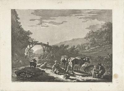 Landschap met melkmeisje en houten brug