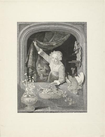 Vrouw met mand met vruchten in de hand bij het raam