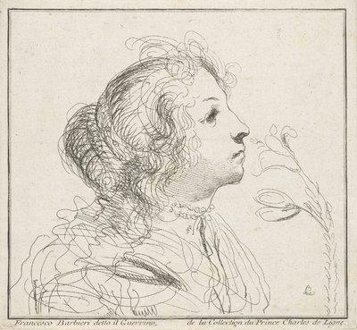 Meisje ruikend aan een lelie