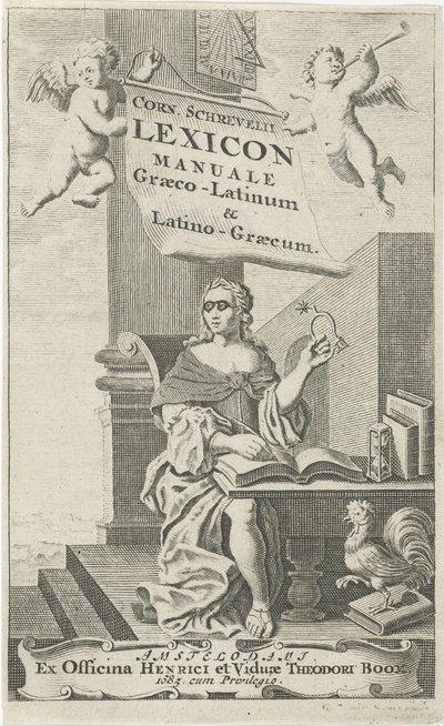 Allegorie op de rede; Titelpagina voor: C. Schrevelius, Lexicon manuale Græco-Latinum & Latino-Græcum, 1685