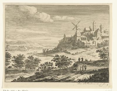Rivierlandschap met stadsgezicht; Zes landschappen, eerste serie