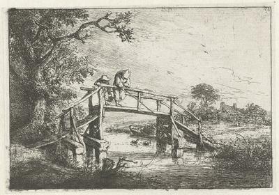 Twee vissers op een brug; De visscher