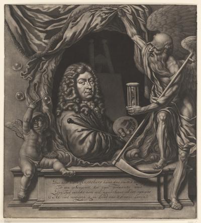 Zelfportret van Michiel van Musscher in allegorische omlijsting