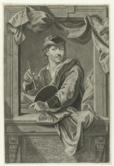 Portret van J. Kupezky. Links onderaan: I. Kupezky pinx. Rechts onderaan; I.I. Haid sculpsit