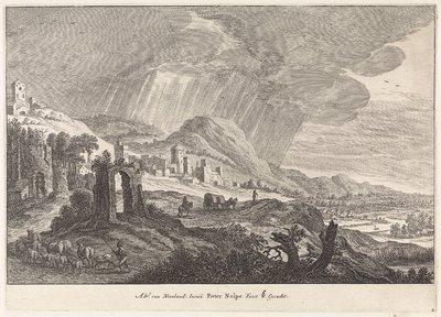 Heuvellandschap met een ruïne; Landschappen