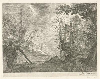 Drie jagers bij een rivier in een bos; Berglandschappen uit Tirol