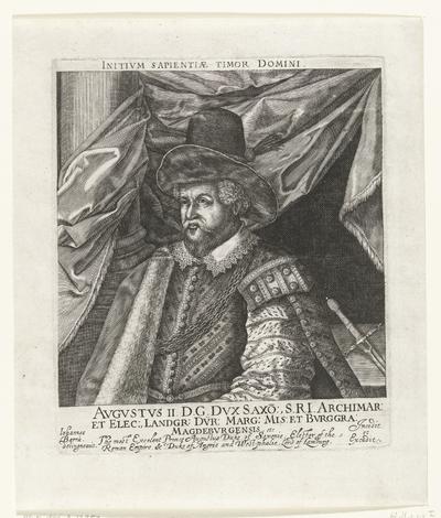 Portret van Augustus II hertog van Saksen; Avgvstvs II DG Dvx (...) Bvrggra: Magdebvrgensis etc.