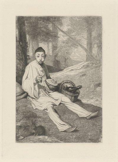 Pierrot en een konijn in een landschap