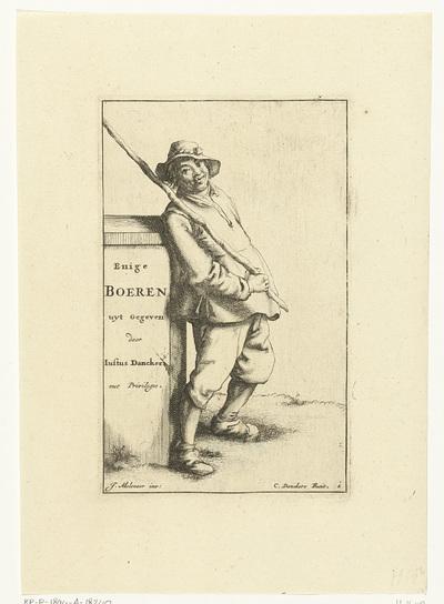 Boer met stok over schouder leunt tegen muurtje met titel; Titelprent voor: Enige Boeren; Enige Boeren; Enige boeren