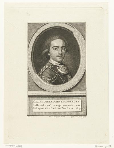 Portret van Diederik Johan, rijksgraaf van Hogendorp van Hofwegen; Mr. D.J. Hoogendorp, t. Hofweegen, collonel van 't oranje vaandel en Schepen der stad Amsterdam 1787