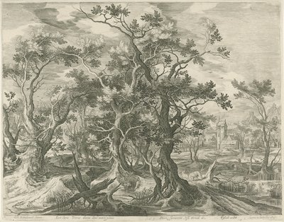 Landschap met een door een leeuw verscheurde profeet uit Juda