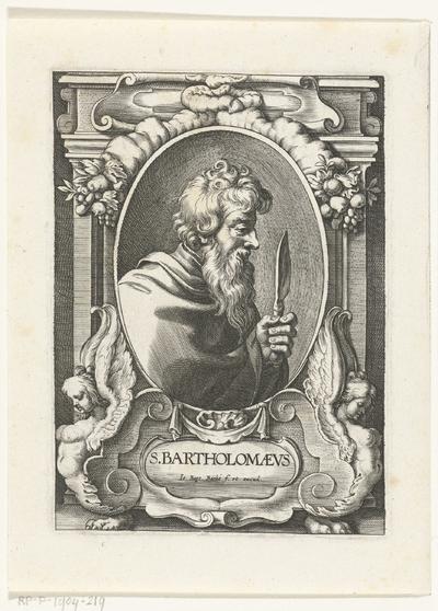Apostel Bartholomeus met mes in omlijsting met architectuur ornamenten; S. Bartholomaevs; SS. Apostolorum et Evangelistorum Icones