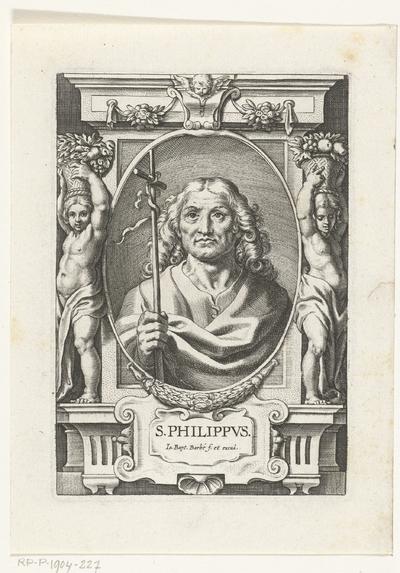 Apostel Filippus met kruisstaf in omlijsting met architectuur ornamenten; S. Philippvs; SS. Apostolorum et Evangelistorum Icones