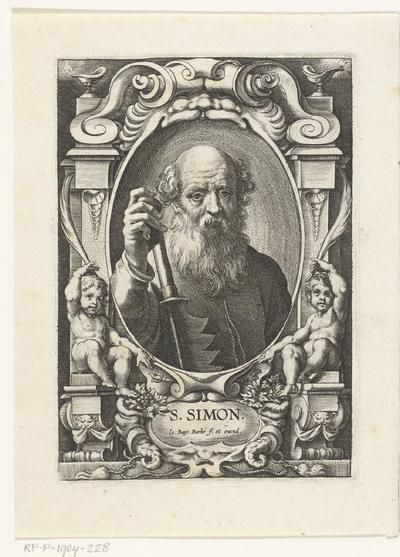 Apostel Simon Zelotes met zaag in omlijsting met architectuur ornamenten; S. Simon; SS. Apostolorum et Evangelistorum Icones