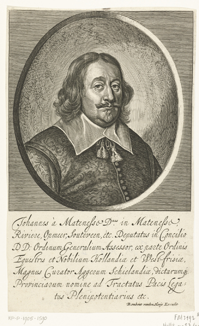 Portret Johan van Mathenesse; Johannes à Matenesse (...) legatus Plenipotentiarius etc.