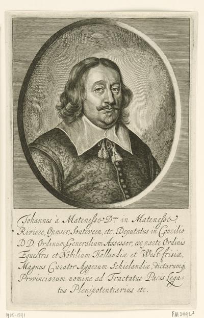 Portret Johan van Mathenesse; Johannes à Mathenesse (...) legatus Plenipotentiarius etc.