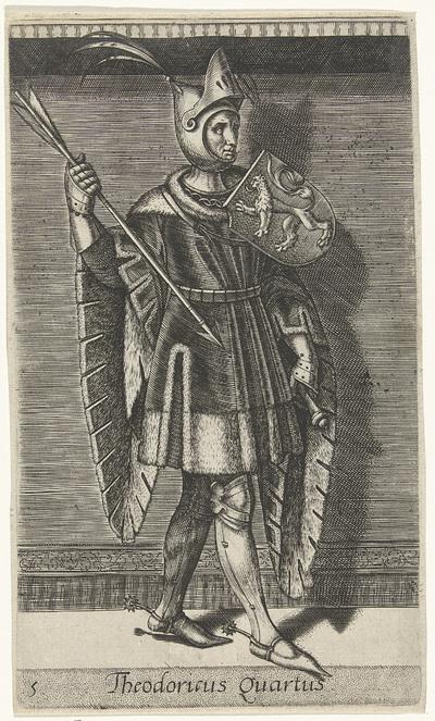 Portret van Dirk IV, graaf van Holland; Theodoricus Quartus; Graven en gravinnen van Holland en Zeeland; Principes Hollandiae et Zelandiae