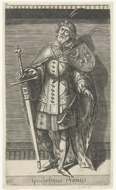 Portret van Willem I, graaf van Holland; Guilielmus Primus; Graven en gravinnen van Holland en Zeeland; Principes Hollandiae et Zelandiae