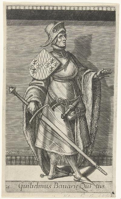 Portret van Willem V, graaf van Holland; Guilielmus Bauarie Quitus; Graven en gravinnen van Holland en Zeeland; Principes Hollandiae et Zelandiae
