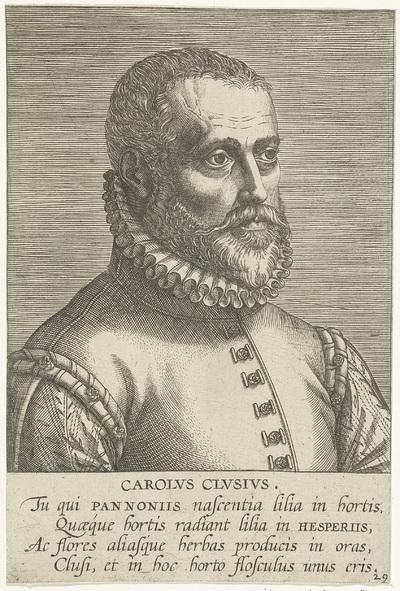 Portret van Charles de l'Escluse; Carolvs Clvsivs; Portretten van beroemde geleerden; Imagines L. Doctorum Virorum