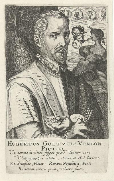 Portret van Hubert Goltzius; Hubertus Goltzius, Venlon. Pictor; Schildersportretten