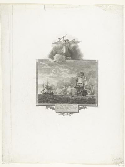 Spragge verdrijft de Hollandse vloot uit de monding van de Theems, 1667; Sir Edw.d Spragge forcing the Dutch fleet from the Mouth of the Thames. July 23. 1667