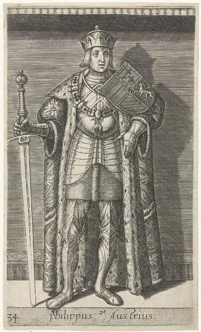 Portret van Filips de Schone, hertog van Bourgondië; Philippus Austrius; Graven en gravinnen van Holland en Zeeland; Principes Hollandiae et Zelandiae