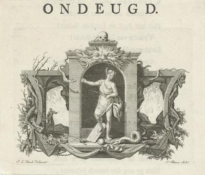 Vignet met de personificatie van Ondeugd; Ondeugd; Deugden en ondeugden
