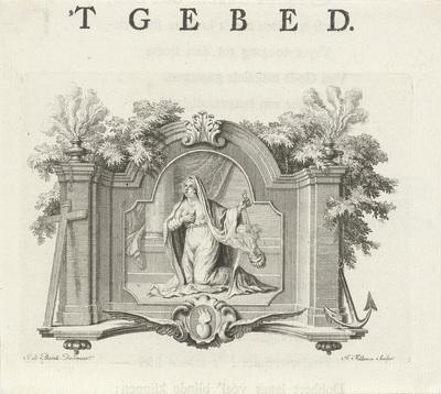 Vignet met de personificatie van het Gebed; 'T Gebed; Deugden en ondeugden