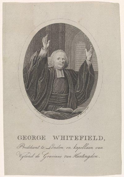Portret van George Whitefield; George Whitefield, predikant te London en kapellaan van Wijlend de Gravinne van Huntingdon