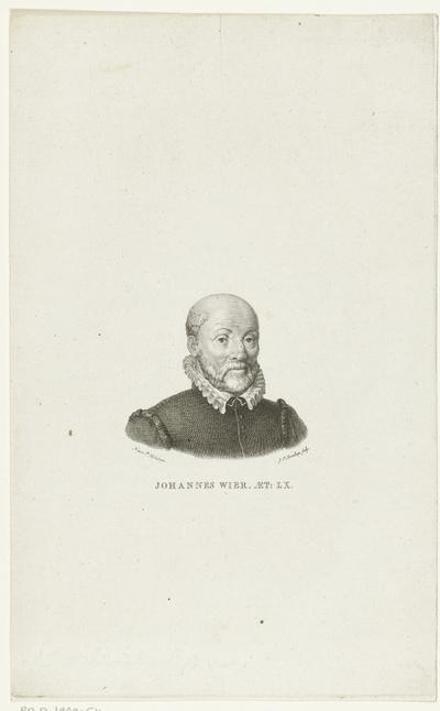 Portret van arts Johannes Wier; Johannes Wier Aet: LX