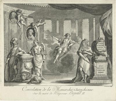 Allegorie op de troonopvolging van Leopold II; Consalation de la Monarchie Autrichien sur la mort de l'Empereur Leopold II